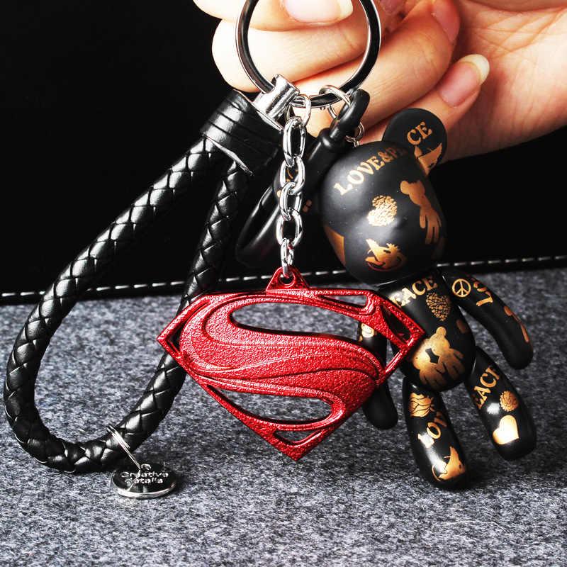 Dos desenhos animados do Homem-Aranha Capitão América Superman Urso violência Urso chaveiro Chaveiros Homens E Mulheres Sacos de Presente Pingente de Carro chaveiro