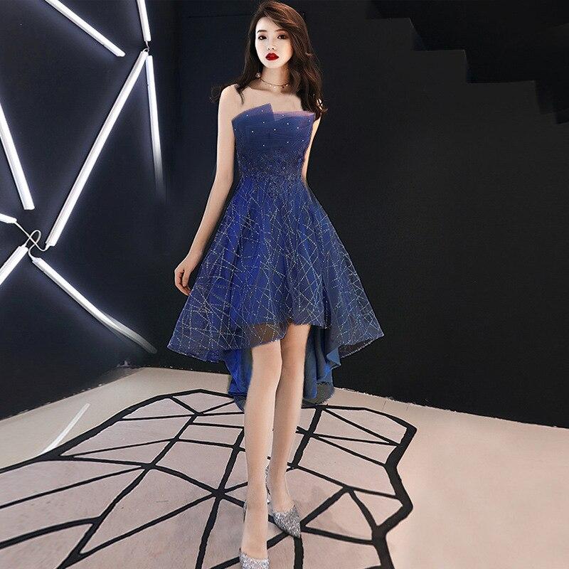 Evening Dress Navy Blue Sequins Pleat Tube Top Dress Formal Party Dress Vestidos  Size S-3XL