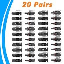 20 זוגות שמש מחבר זכר ונקבה פנל סולארי מחבר לכבל שמש מתאים חתכים בכבל 2.5mm2 ~ 6.0mm2 IP67