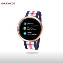 Смарт часы ZeRound2HR Premium цвет матовый розовый,  плетеный нейлоновый ремешок цвет синий/белый/розовый