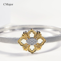 CMajor Solid Silver Elegant Vintage Fashion Four Leaves Clover Cuff Bracelets For Women For St. Patrick's Day