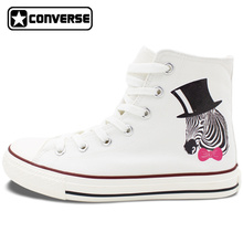 White High Top Converse All Star Design Zebra with Black Hat Pink-Bow Tie Canvas Shoes Personalized Gifts Birthday