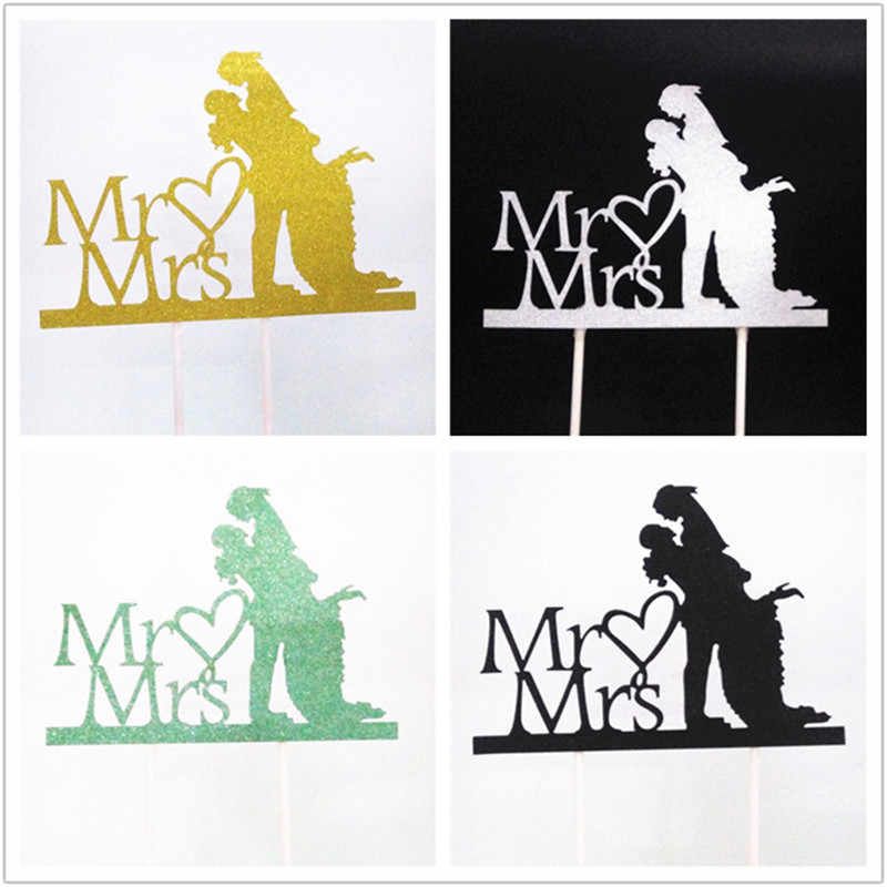 Wedding Cake Topper Flags Bride Groom Mr Mrs Acrylic Black Cake Toppers HAPPY BIRTHDAY Decorations Mariage Party Supplies Favors