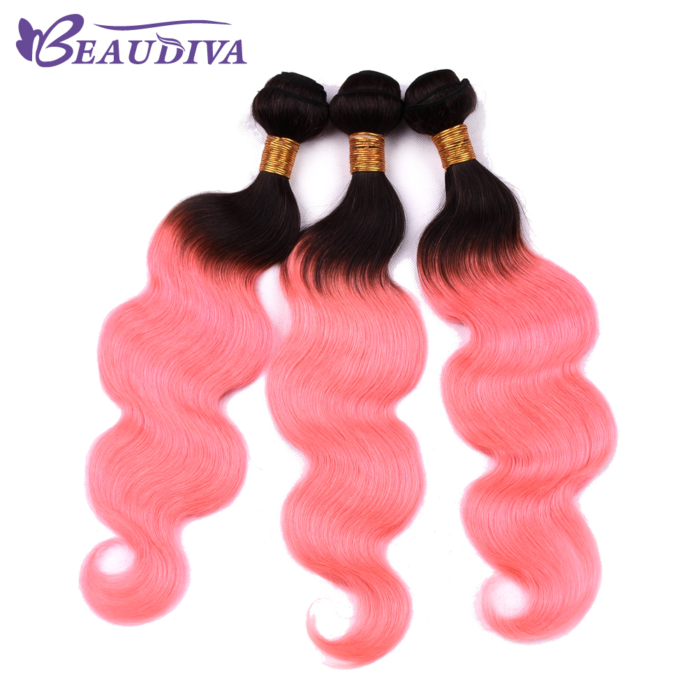 BEAUDIVA Human Hair 2or3 Bundles With Frontal Closure 13x4 Lace Frontal Brazilian Body Wave Hair Weave TB Cherry Red Color