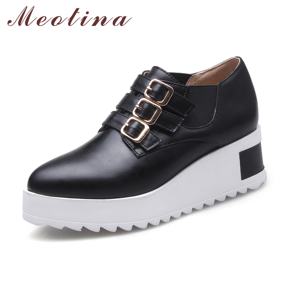 Meotina Shoes Women Pumps Platform High Heels Shoes Wedges Plus Size 42 43 Pointed Toe Buckle Pumps Chaussure Femme Black White meotina high heels shoes women pumps party shoes fashion thick high heels pointed toe flock ladies shoes gray plus size 10 40 43