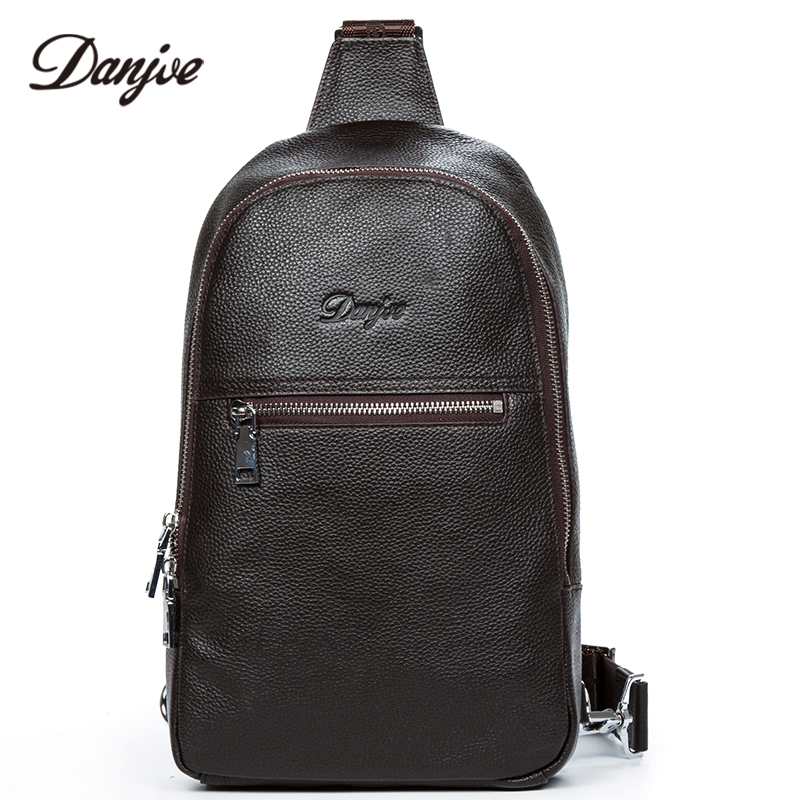 DANJUE Genuine Leather Men Chest Bags Male Messenger Casual Back Pack High Quality Real Leather Crossbody New Arrival Bag Men