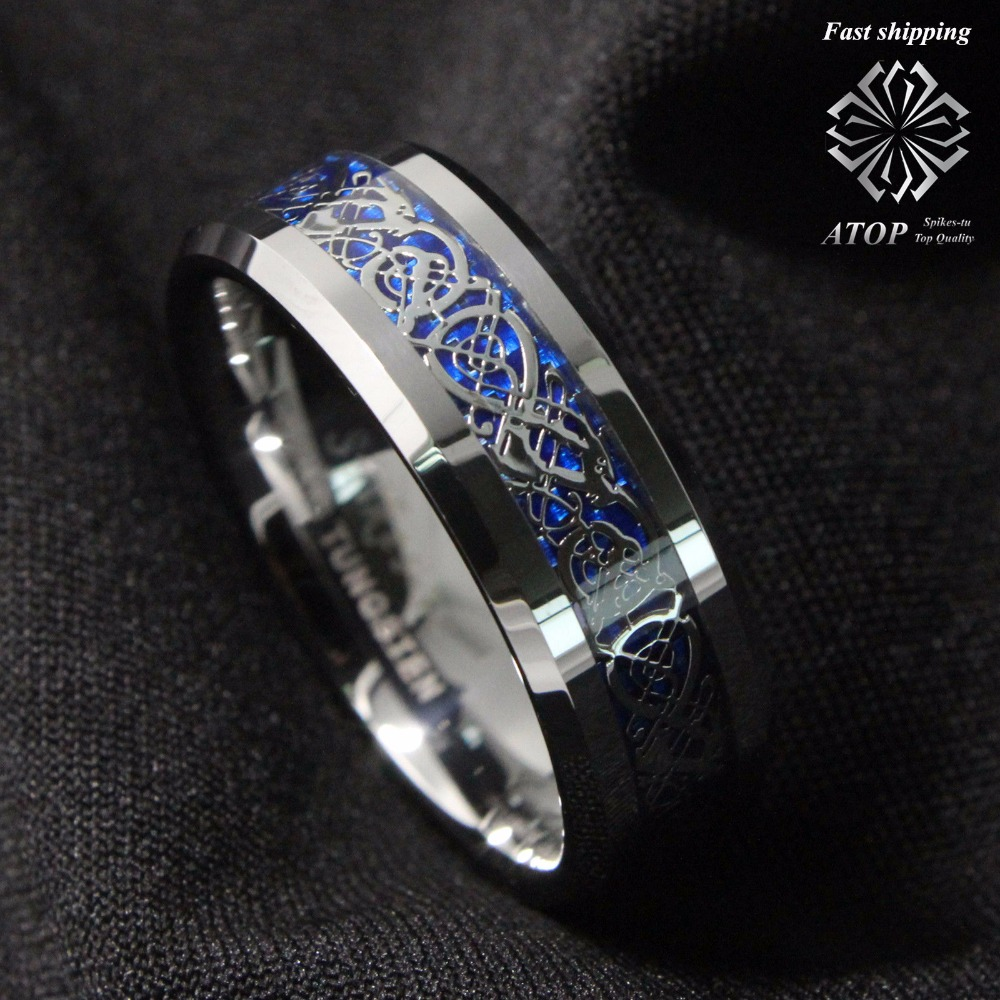 Men S Wedding Rings Diamontrigue Jewelry: 8mm Silvering Dragon Tungsten Carbide Ring Men's Jewelry