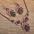 Blucome turco declaração colar brinco conjunto retro rhinestone cristal nupcial do casamento da flor conjuntos de jóias vintage para mulheres
