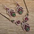 Blucome turco declaración del pendiente retro del cristal del rhinestone boda nupcial de la flor sistemas de la joyería de la vendimia para las mujeres