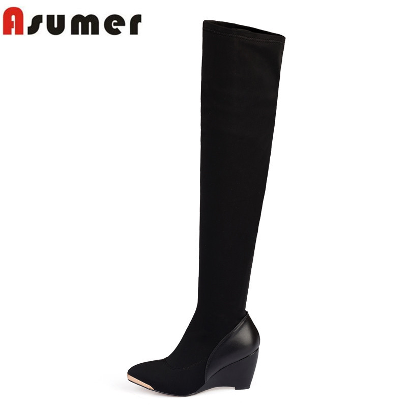 ASUMER Autumn winter new arrive high quality genuine leather over the knee boots wedges pointed toe women fashion boots 2016 new arrive high quality genuine leather high heels ankle boots fashion round toe simple leisure women autumn boots