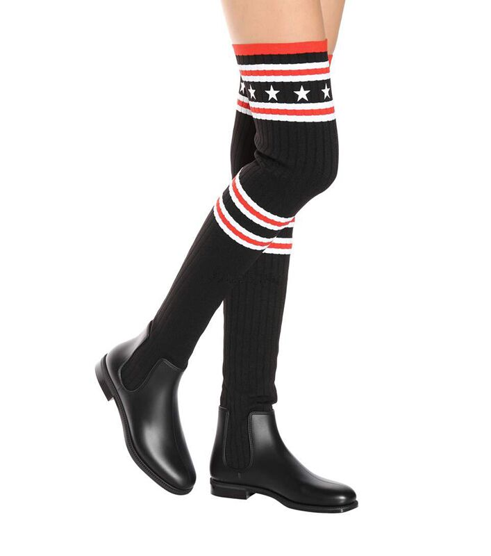 Newest Design Women Thigh High Boots Striped Knit Boots Stars Flat Boots Shoes Women