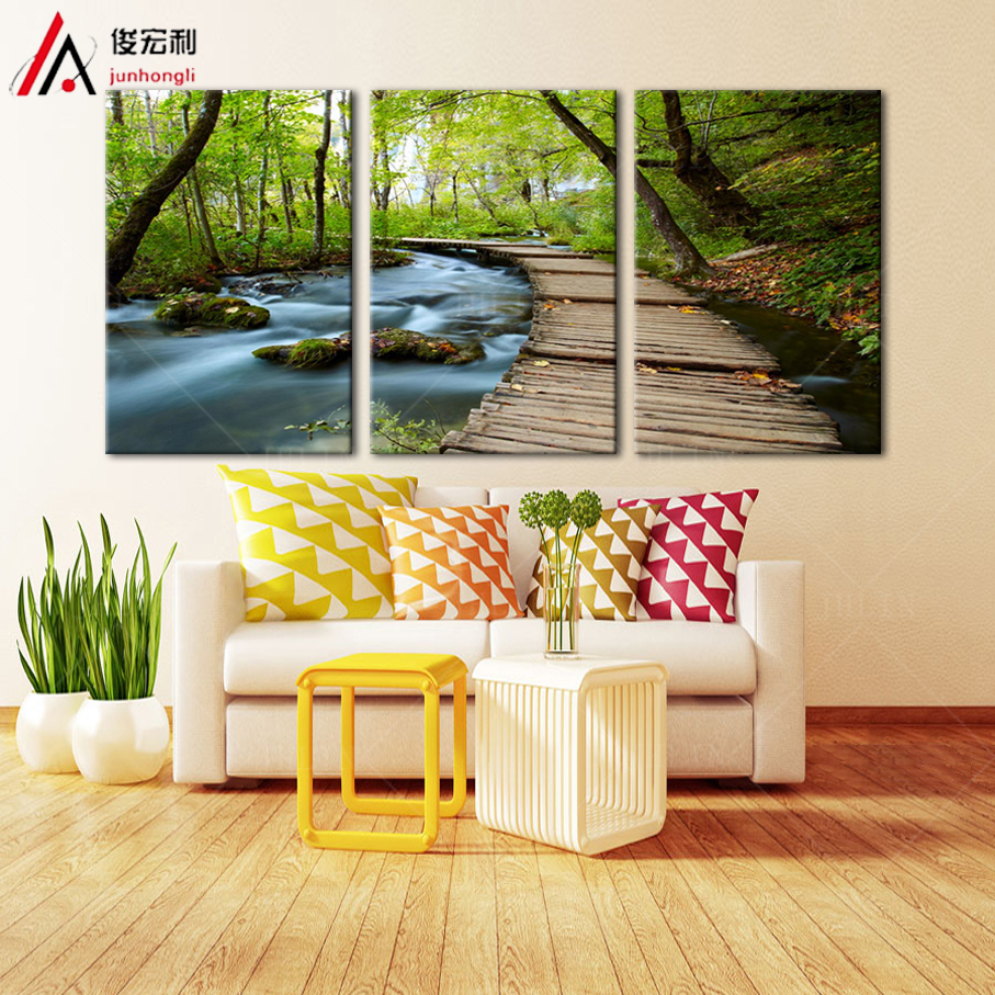 Triptych Canvas Prints Large 3 Panel Spring Natural Green Scenery ...