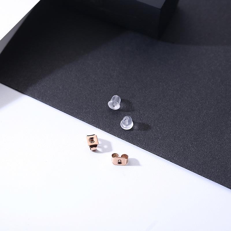 2018 Rose Gold Color Stainless Steel Long Double Square Stud Earrings Women Earring For Women Gift Jewelry boucle d 39 oreille in Stud Earrings from Jewelry amp Accessories