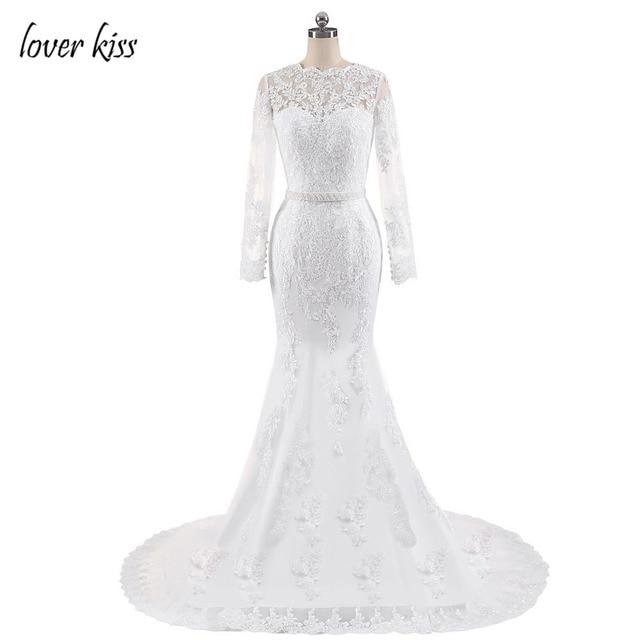 Lover Kiss Wedding Dress 2017 Robe De Mariee Elegant Lace Body Dresses Y Mermaid Pearls