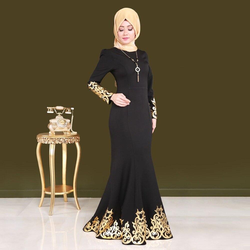 Nero elegante Abito Musulmano Dubai Donne Abaya Lungo Maxi Vestito Casuale Veste Musulmana di Grandi Dimensioni Arabo Indumento Abbigliamento Islamico Z80503-in Abiti da Abbigliamento da donna su  Gruppo 1