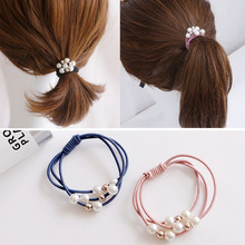 10pcs candy elastic pearl ponytail holder hair ties for girls tight elastic rubber rope bands for thick adult hair accessories New Pearl Elastic Rubber Bands For Women Girls Elastic Hair Ties Ponytail Holder scrunchies Hair Rope Hair Accessories Head wear