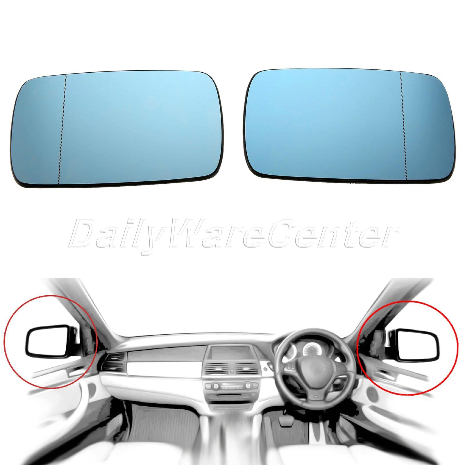 1 пара для BMW 3 серии E46 1998-2005 двери крыла Зеркало Стекло с подогревом синий тонированные правая сторона автомобиля зеркало заднего вида объек...