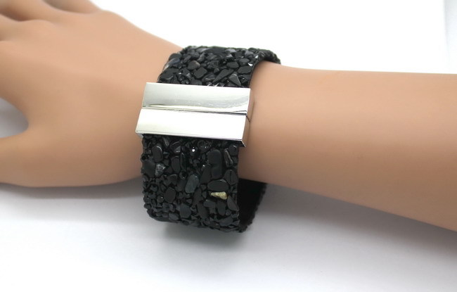 19cm Fashion Aesthetic Leather Bracelets Jewelry with Stone Trendy high quality Black Stone Manual Charm Bracelets For Women 8