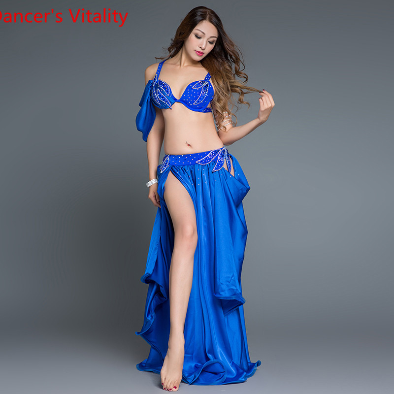 Girls Belly Dance Suit Women Belly Dance Competition Set Stones Bra+Satin Skirt 2pcs Ballrom Dance Clothes Free Shipping