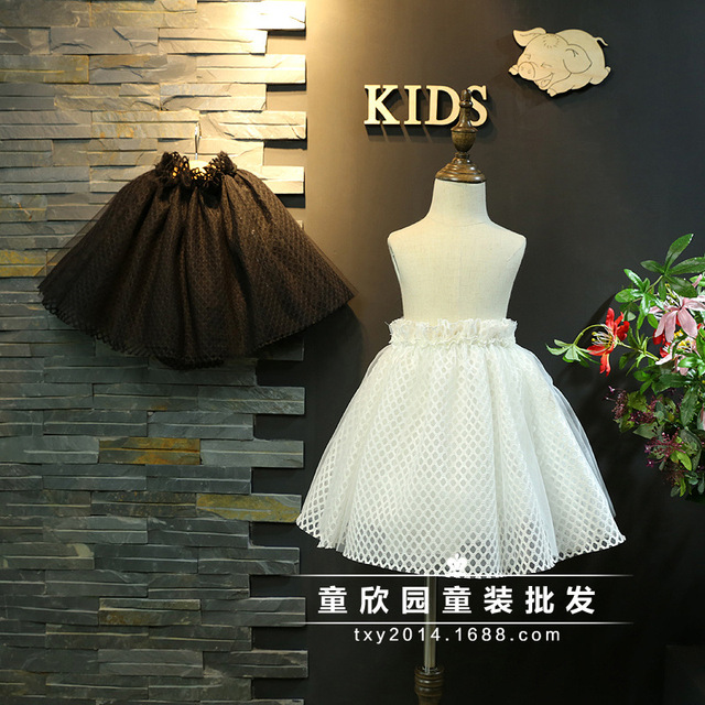 European goods children's clothing 2017 spring new girls mesh lace mesh yarn lumbar puff skirt  poncho skirt