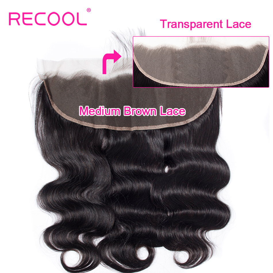 Recool Hair HD Transparent Lace Frontal Closure With Baby Hair Brazilian Body Wave Swiss Lace Human