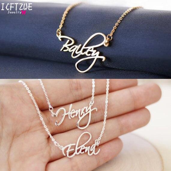 Personalisierte Schmuck Skript Schrift Cursive Name Halsketten Frauen Männer Silber Gold Rose Choker Halskette BFF Hochzeit Brautjungfer Geschenk