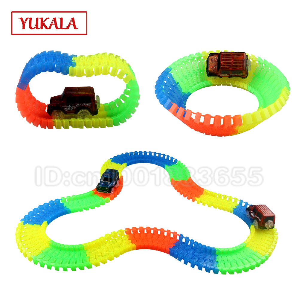 Free assembly race track car set diy model change electric vehicle flexible luminous toy assembly beginning ability best gift