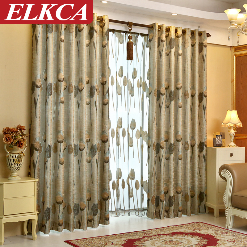 Hot sale tulip floral curtains for living room luxury - European style curtains for living room ...