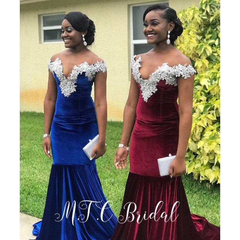 High Quality Velvet Royal Blue Dress Evening Off The Shoulder Mermaid Sliver Lace Long Prom Gowns 2019 Vestido De Festa Cheap