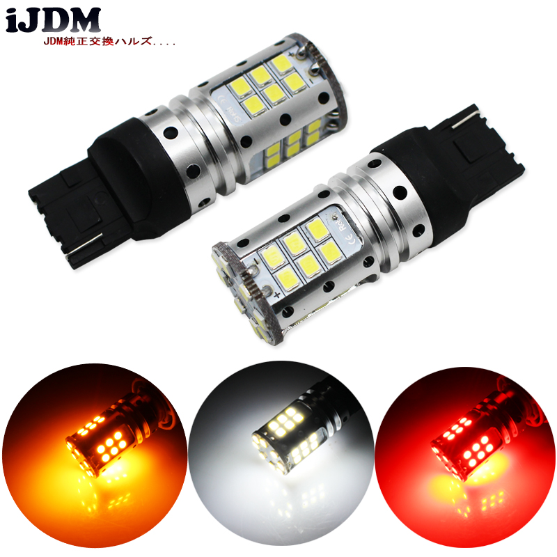 iJDM Car Tail Light 7440 LED Canbus T20 W21W WY21W 7440 32SMD 3030 LED For car Auto Brake Reverse Lamp DRL Rear Parking Bulb.