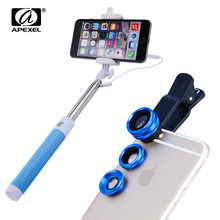 Camere lens kit for iPhone 6S Plus Samsung S7 edge Note 5 fisheye wide & macro phone lens with Selfie Stick Cable Monopod 96CX3