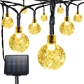 Solar Outdoor String Lights 6.35M 30LED Crystal Ball Solar Powered Globe Fairy Strip Lights ( Multi-color and Light Yellow)
