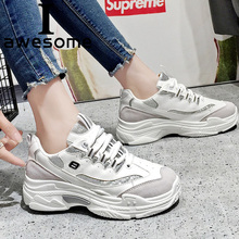 Купить с кэшбэком Women Sneakers Trainers PU Leather 2018 New Fashion Breathable Shoes Women Lace Up Women Flat Shoes Casual Shoes Zapatos Mujer
