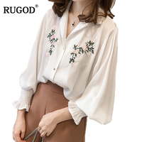 Rugod Embroidered Spring Autumn Cotton Women Blouses Long Sleeve Fashionable Shirt Women Tops 2018 Hot Sale