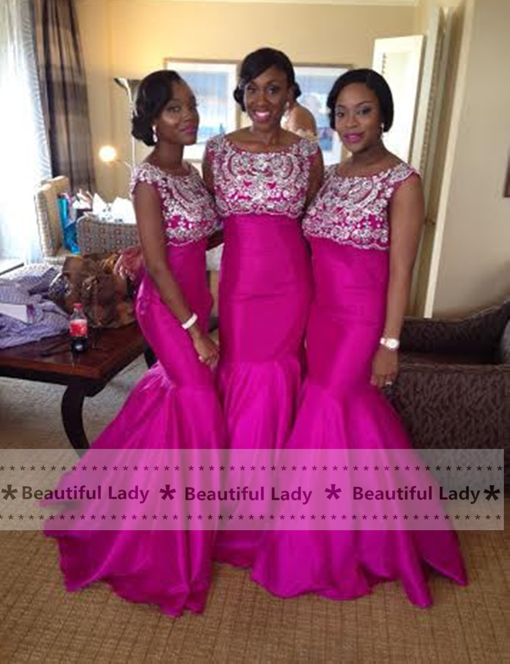 Online get cheap bridesmaid long fuchsia mermaid dresses top fuchsia mermaid bridesmaid dress 2017 custom made sleeveless beaded satin wedding party gowns long bridesmaid ombrellifo Images