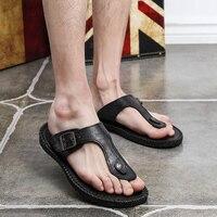 2017 Men S Genuine Leather Flip Flops Beach Sandals Slippers For Men Summer Style Shoes Sandalias