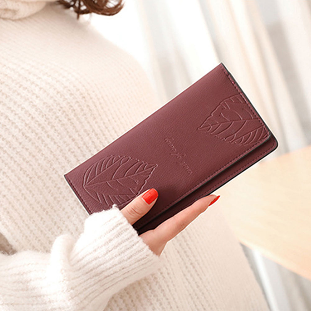 Women Solid Color Long Button Wallet Leaf Double-Layers Card Cash Purse Gift ...