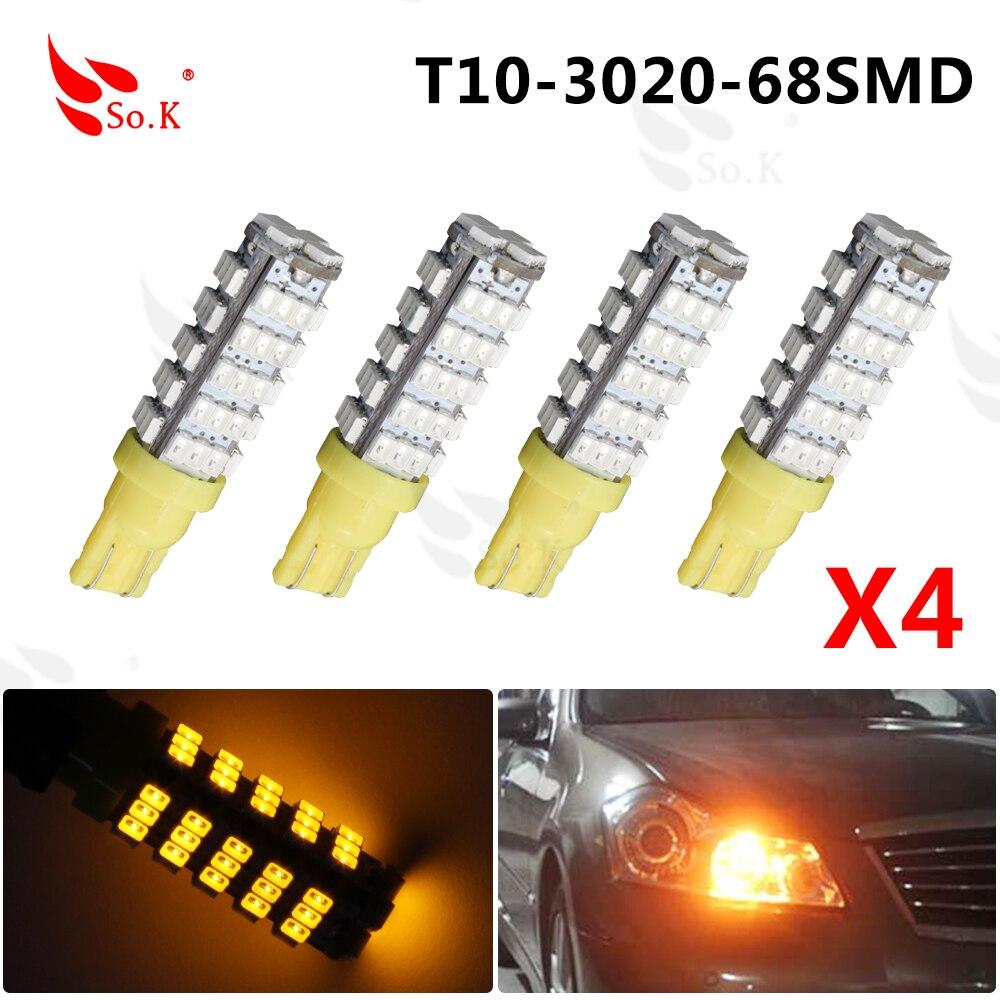 ⊹Super brillante T10 68LED 1206 68 SMD LED coche 68smd 3020 W5W 194 ...