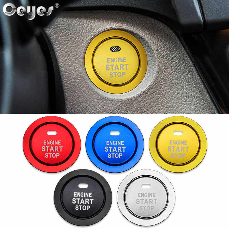 Ceyes Car Styling Accessories Start Stop Engine Covers Button Stickers Case For Toyota Corolla Camry Rav4 Yaris C HR Prius Rings