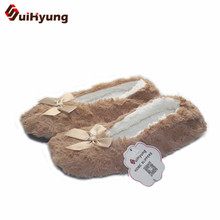 Suihyung Winter Warm Home Women Slippers Cotton Shoes Plush Female Floor Shoes Bowknot Fleece Indoor Shoes