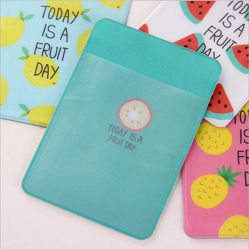 Купить с кэшбэком 1X Cute Fresh Fruit Portable PVC Double Layer Card Holder Business ID Bus Card Case Wallet School Office Supply Kids Gift