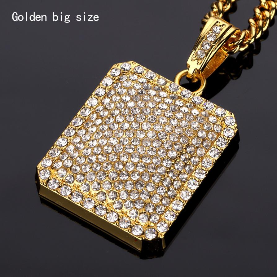 Mens Full Iced Out Rhinestone Square Tag Pendant Cuban Chain Hip Hop Necklace Delicate Jewelry Sep 11 ...