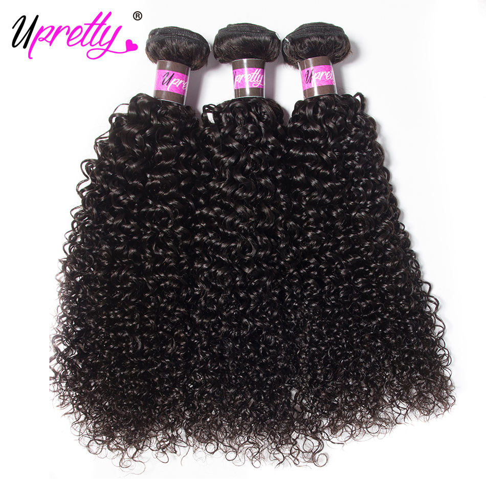 Upretty Hair Peruvian Curly Wave Hair 3 Bundles 10-28 inches Natural Color Remy Hair Weave Extension Human Hair Bundles