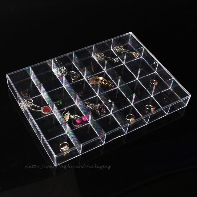Newest 24 Grids Clear Acrylic Jewelry Display Tray Jewelry Holder
