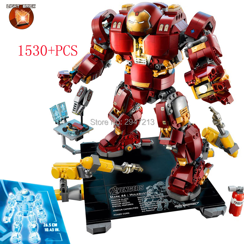 2018 hot compatible LegoINGlys Marvel Super hero Avengers with light Building Blocks iron Man MK43 Mech brick toys for Children hot compatible legoinglys batman marvel super hero movie series building blocks robin war chariot with figures brick toys gift
