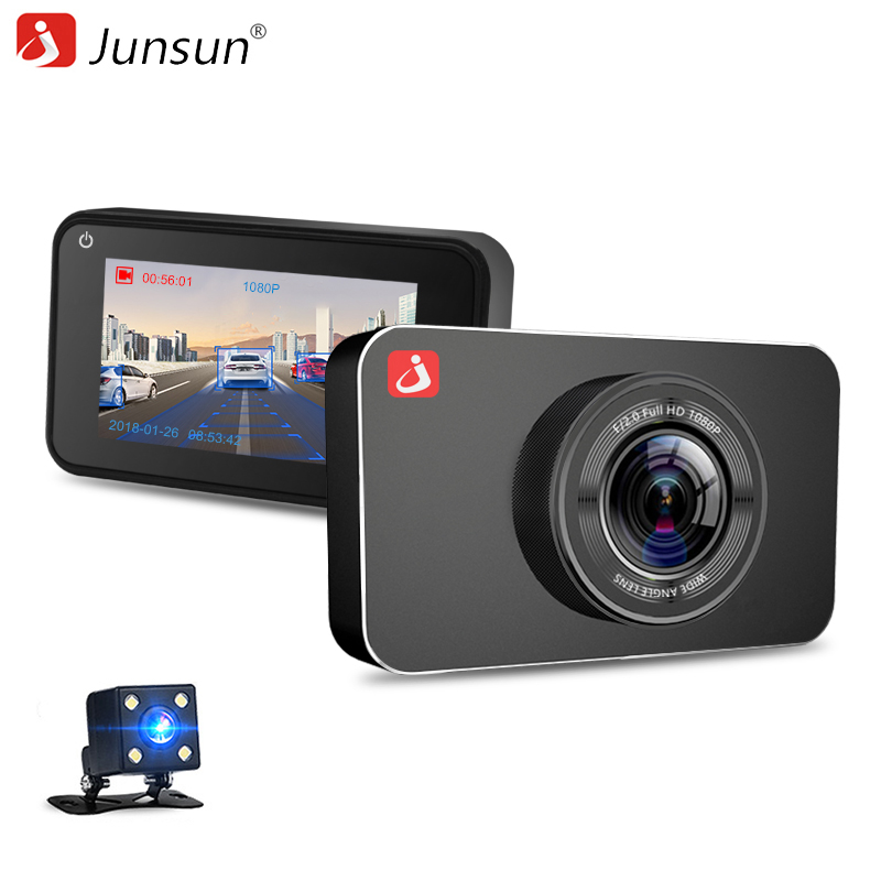 Junsun H9 Super Night Vision Car DVR Camera ADAS/LDWS FHD 1296P/1080P 3  IPS Dash cam Video Recorder Registrar Parking Monitor junsun ambarella a7 car dvr camera video recorder full hd 1080p 60fps speedcam with gps logger night vision dash cam registrar