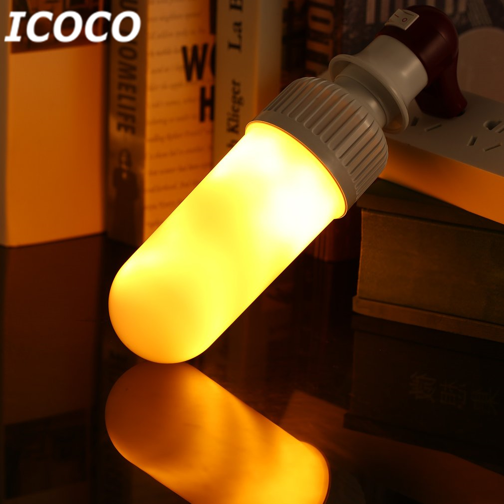 ICOCO E27 LED Flame Flickering Bulb Dynamic Flameless Simaulated Warm White Flame Light for Party Home Festival Decor AC85-265V