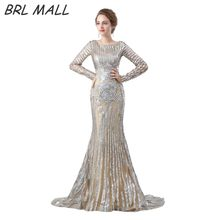 Wunderschöne Silber Pailletten Meerjungfrau Abendkleid mit Langen ärmeln  Sexy Sweep Zug Abendkleid Formale Kleid Vestido De Fest. 48b8575ed4