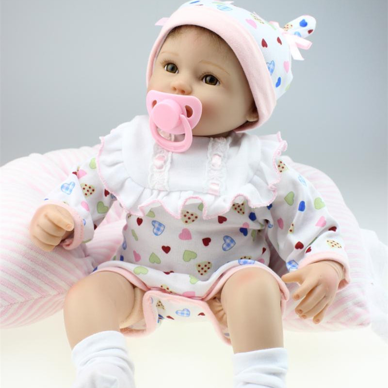 "Buy Handmade 18"" 45cm Baby Girl Dolls Reborn Silicone Lifelike Babies Realistic Baby Dolls Kids Growth Partners Birth Reborn Dolls"