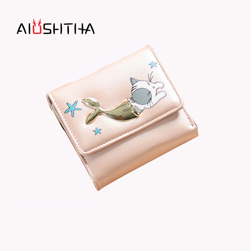 cat women wallets and purses for girls cute children small short coin purse card holder female mini cartoon animal fish money